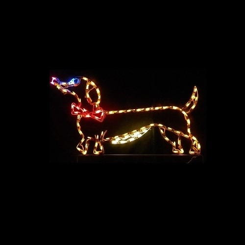 dachshund dog with bow tie male led lighted outdoor christmas decoration - Lighted Animals Christmas Decoration
