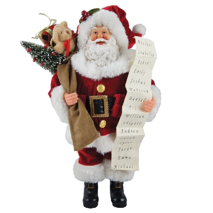 Santa Claus with List Figurine