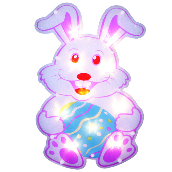 Bunny Lighted Window Easter Decoration - 10 Incandescent Mini Bulbs
