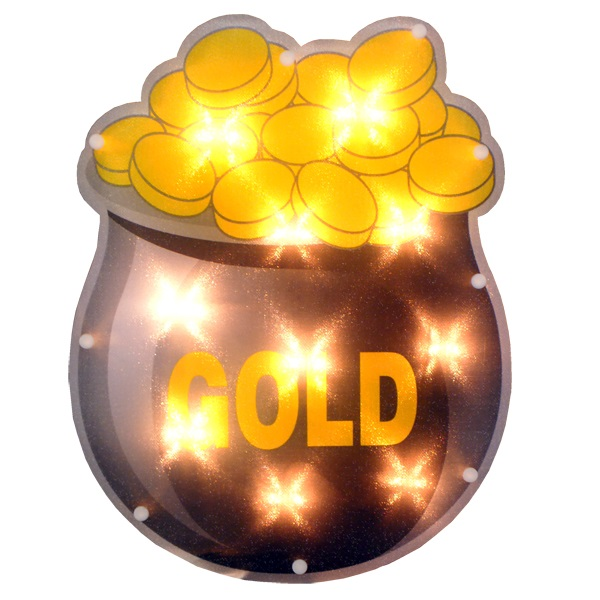 Pot of Gold Lighted Window Decoration - 10 Incandescent Mini Bulbs
