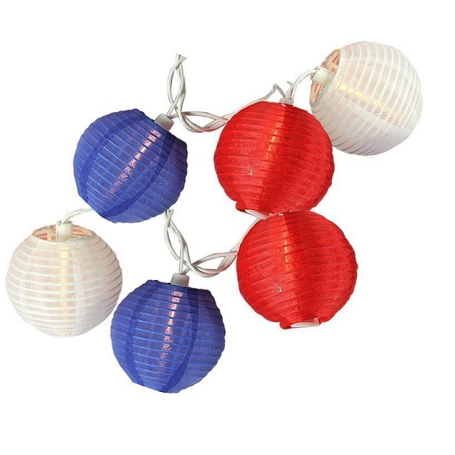 10 Patriotic Red White And Blue Lantern Light Set