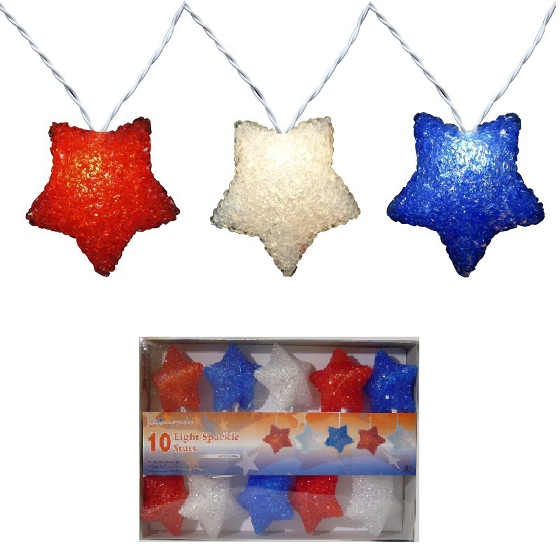 10 Patriotic Sparkling Red White And Blue Star Light Set - White Wire