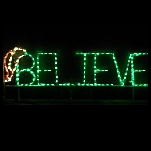 Believe Sign with Santa Hat LED Lighted Outdoor Christmas Decoration