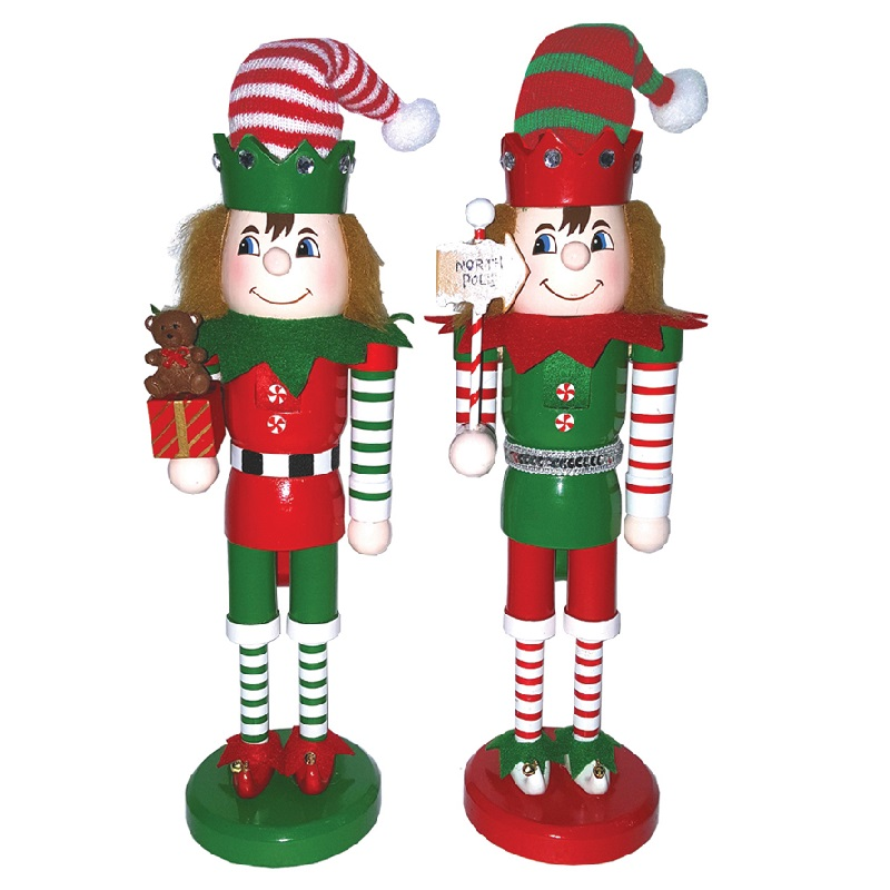 Elf Nutcracker Decoration Set of 2