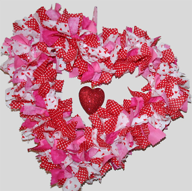 16 Inch Just LoveLy Fabric Wreath Valentine Decoration Unlit