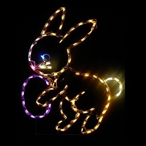 Easter Bunny with Egg LED Lighted Outdoor Easter Decoration