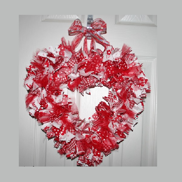 16 Inch Cupids Love Red And White Heart Shaped Valentine Fabric Wreath