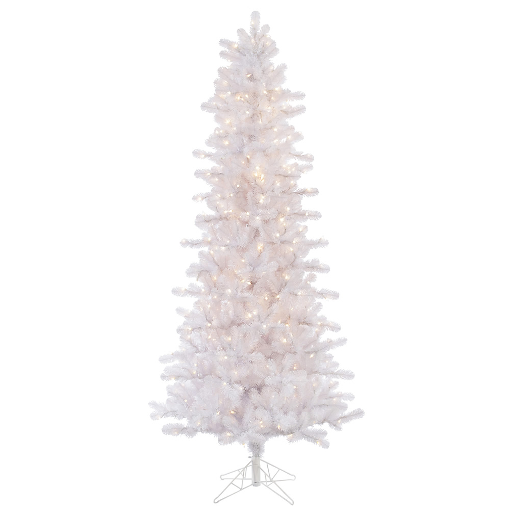 10 Foot Crystal White Slim Artificial Christmas Tree 950 DuraLit Clear Lights