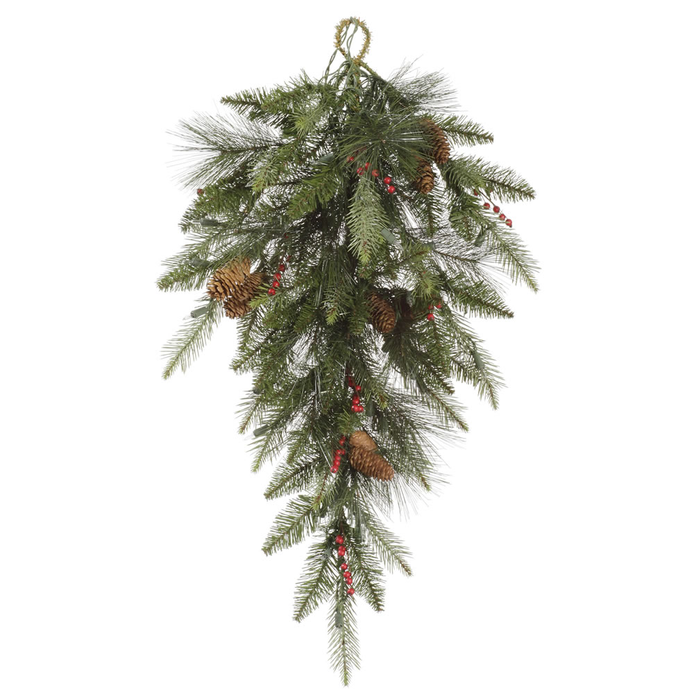 32 Inch Vallejo Mix Pine and Berry Artificial Christmas Teardrop Unlit