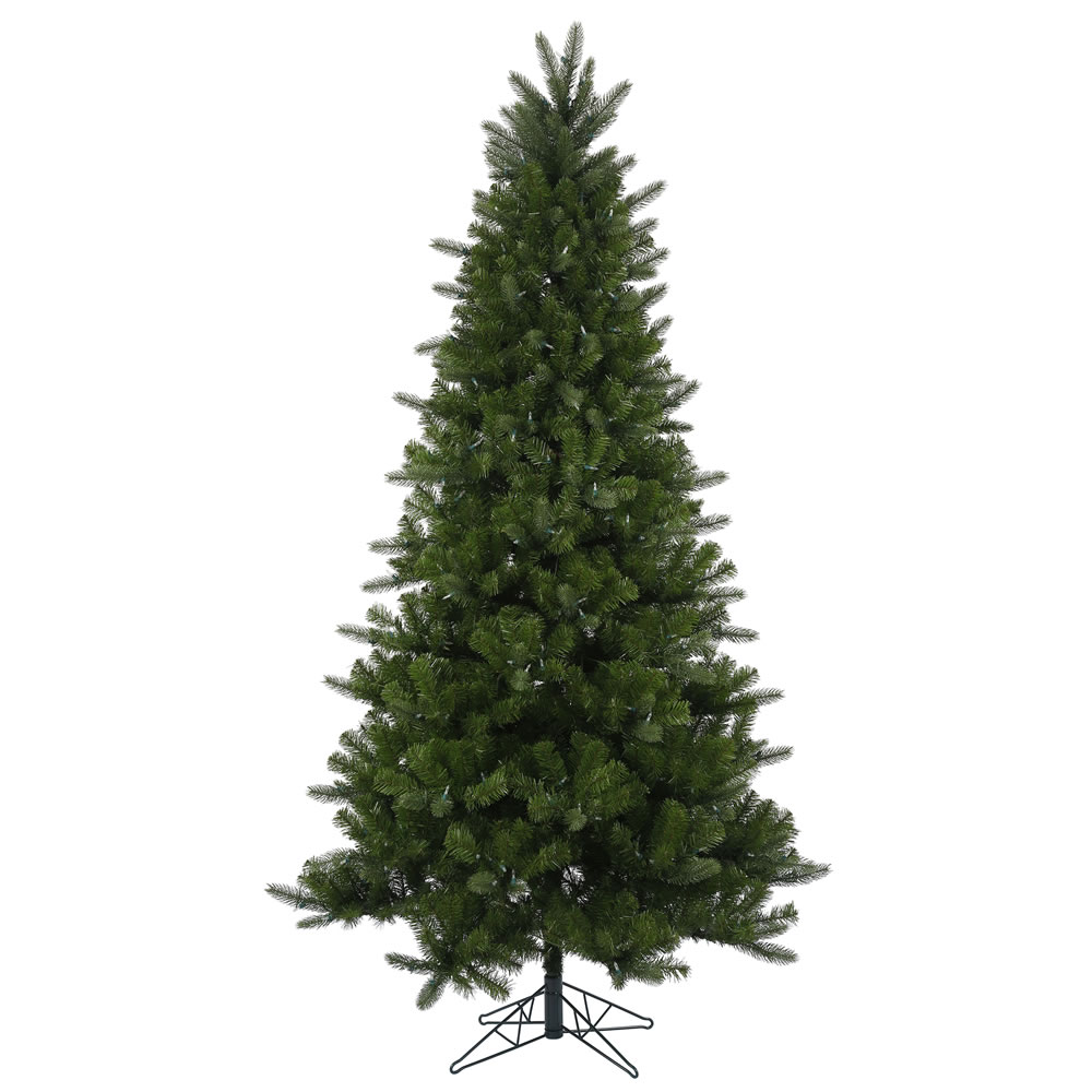 7.5 Foot Ogden Fir Artificial Christmas Tree 600 LED 8 Function Warm White Mini Lights