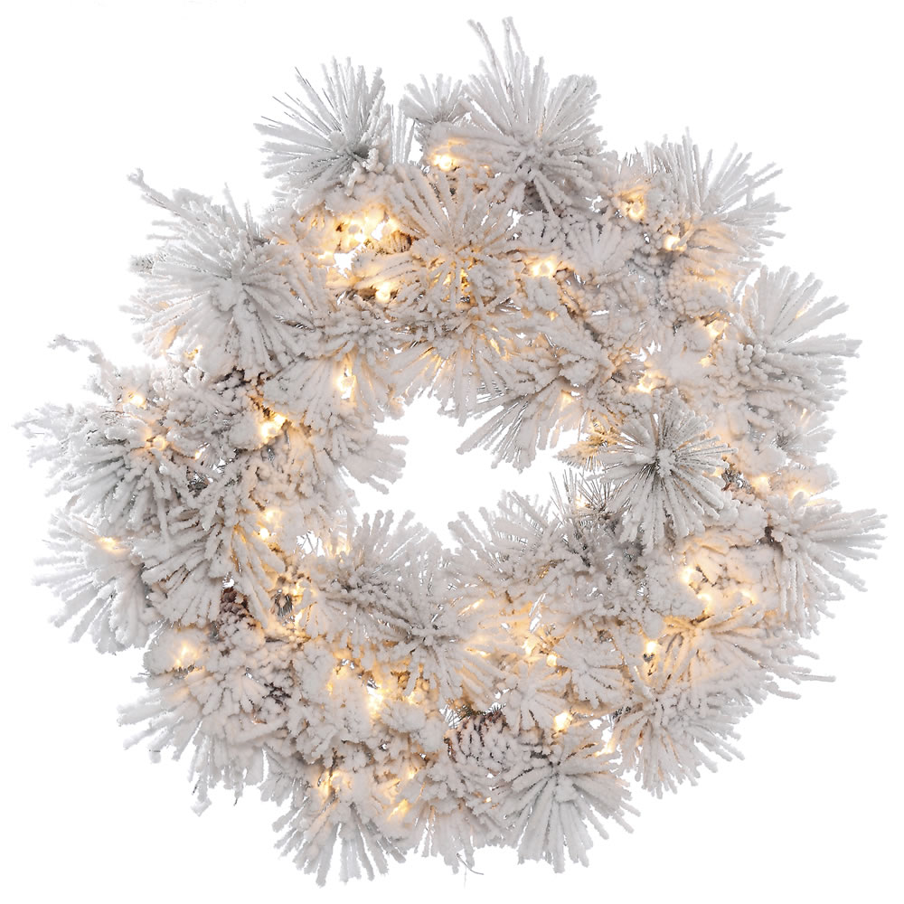 36 Inch Flocked Alberta Wreath With Pine Cones 100 DuraLit Incandescent Clear Lights