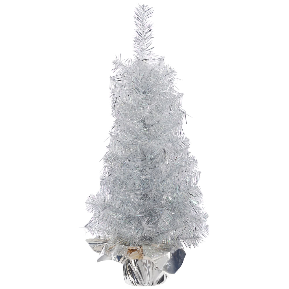 1.5 Foot Crystal Silver Artificial Christmas Tree - Unlit - Silver Base