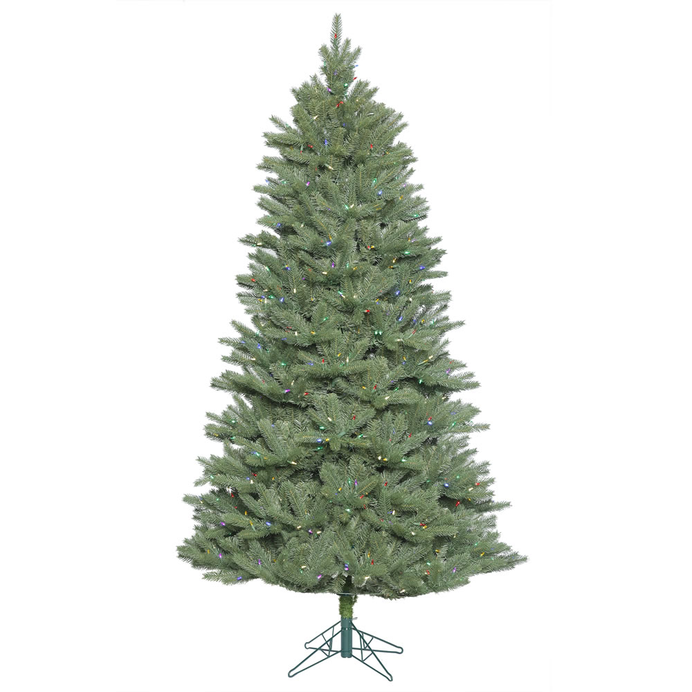 7.5 Foot Colorado Spruce Slim Artificial Christmas Tree with 800 MultiColored LED Lights