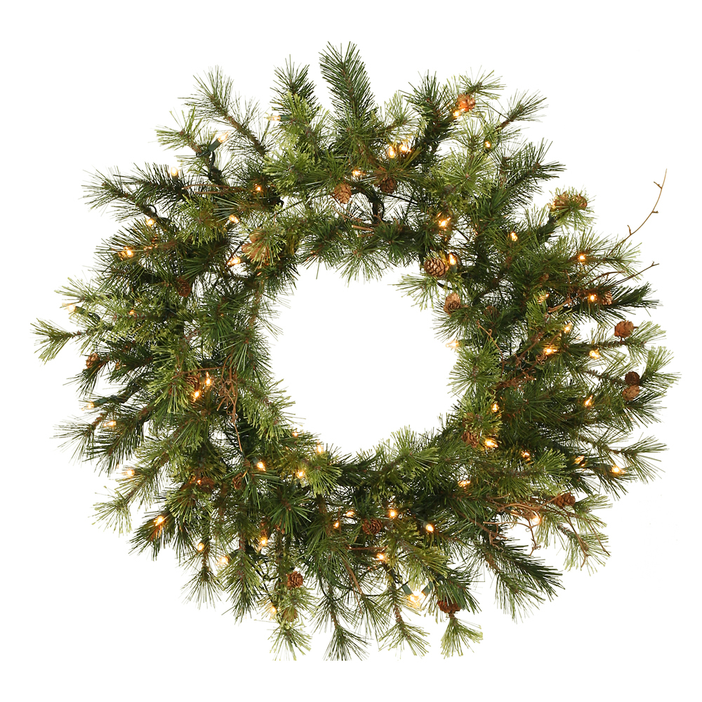 20 Inch Prelit Mixed Country Artificial Christmas Wreath 35 Clear Lights