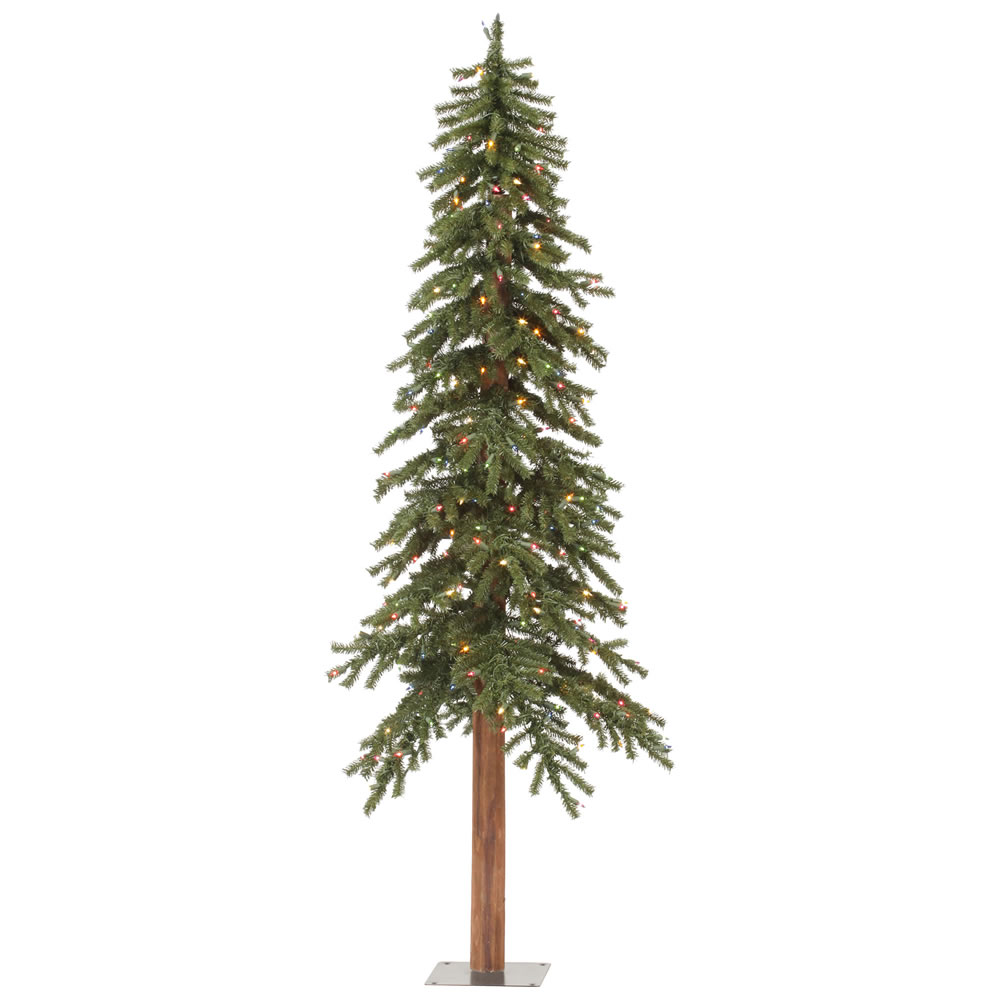7 Foot Natural Alpine Artificial Christmas Tree 300 DuraLit Incandescent Multi Color Mini Lights