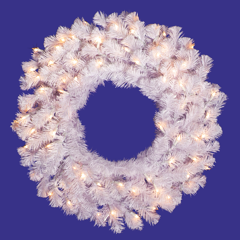 30 Inch Crystal White Wreath 50 LED Warm White Lights