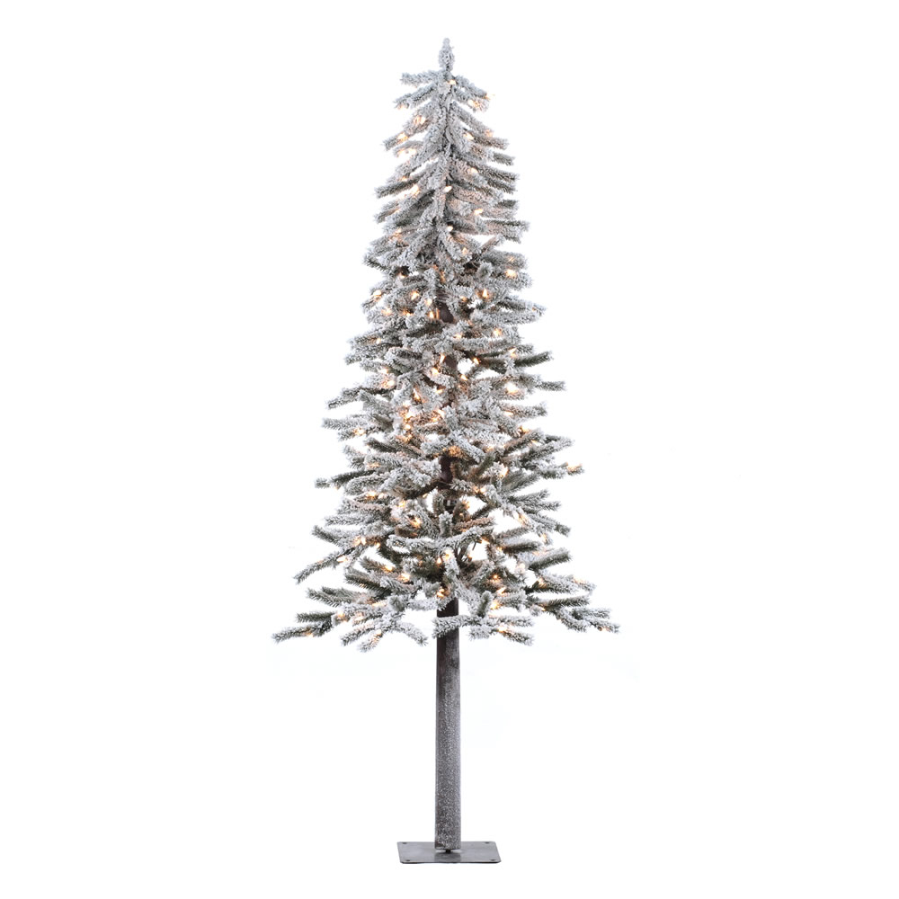 7 Foot Flocked Alpine Artificial Christmas Tree 300 DuraLit Incandescent  Clear Mini Lights