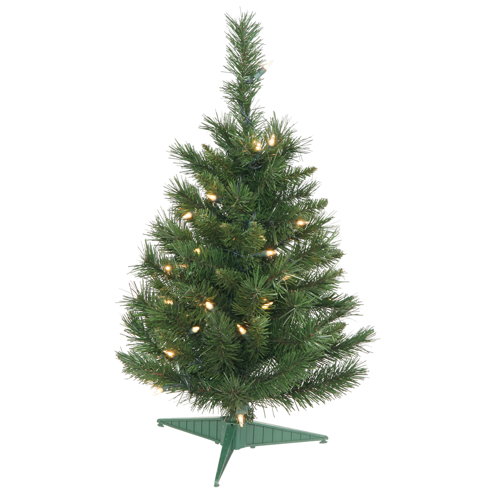 2 Foot Imperial Pine Artificial Christmas Tree - 35 Dura-Lit Incandescent Clear Mini Lights