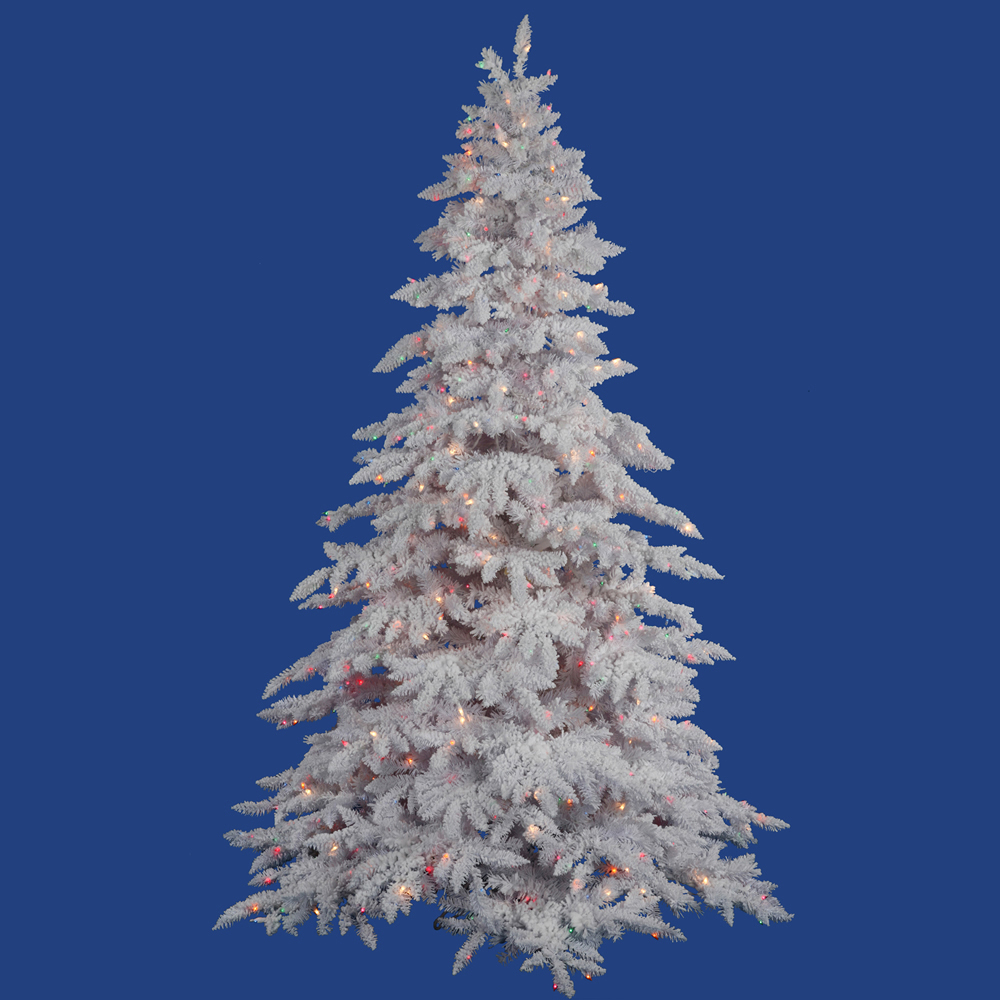 9 Foot Flocked White Spruce Artificial Christmas Tree 1200 DuraLit Incandescent Multi Color Mini Lights