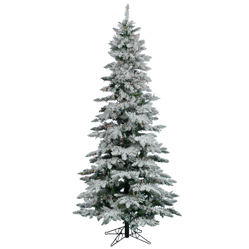 12 Foot Flocked Slim Utica Artificial Christmas Tree 1150 DuraLit Incandescent Multi Color Mini Lights