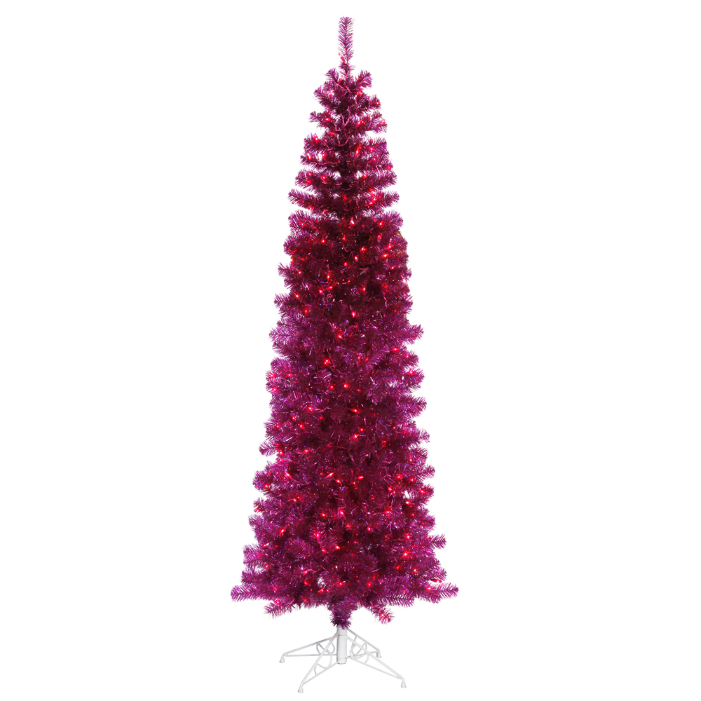 7.5 Foot Fuchsia Pencil Artificial Christmas Tree 400 Purple Lights
