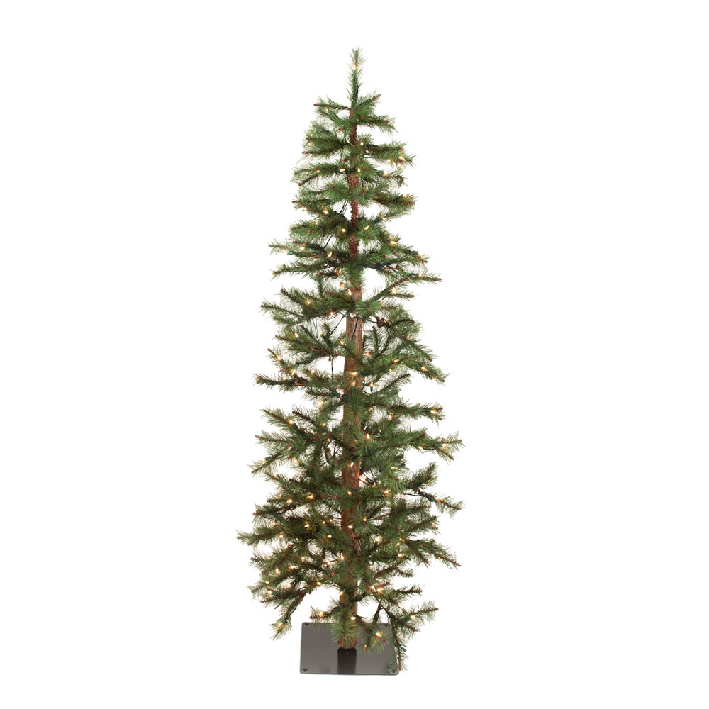 7 Foot Norwegian Pine Artificial Christmas Tree Burlap Base 250 Clear Lights