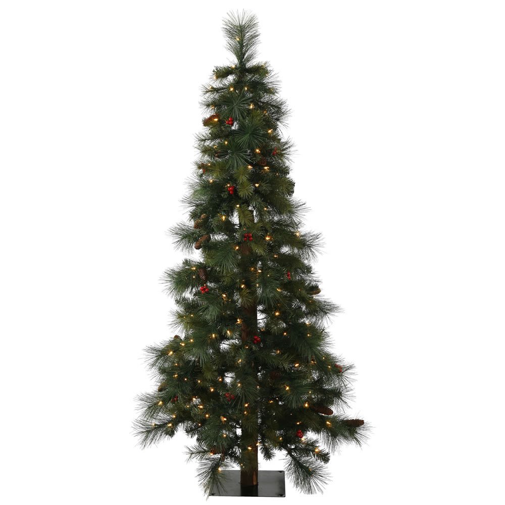 5 Foot Mixed Pine Berry Cone Potted Artificial Christmas Tree 150 Clear Lights