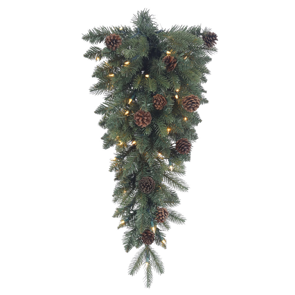 30 Inch Aberdeen Spruce Artificial Christmas Teardrop with 35 Clear Lights