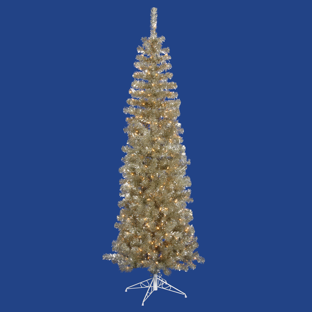 7.5 Foot Champagne Pencil Artificial Christmas Tree 400 DuraLit LED M5 Italian Warm White Mini Lights