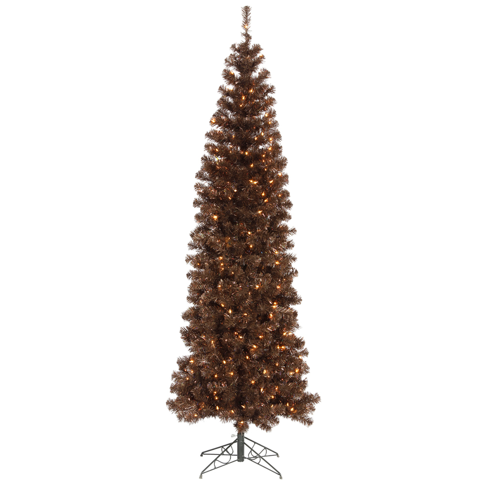 7.5 Foot Mocha Pencil Artificial Christmas Tree 400 LED M5 Italian Warm White Lights