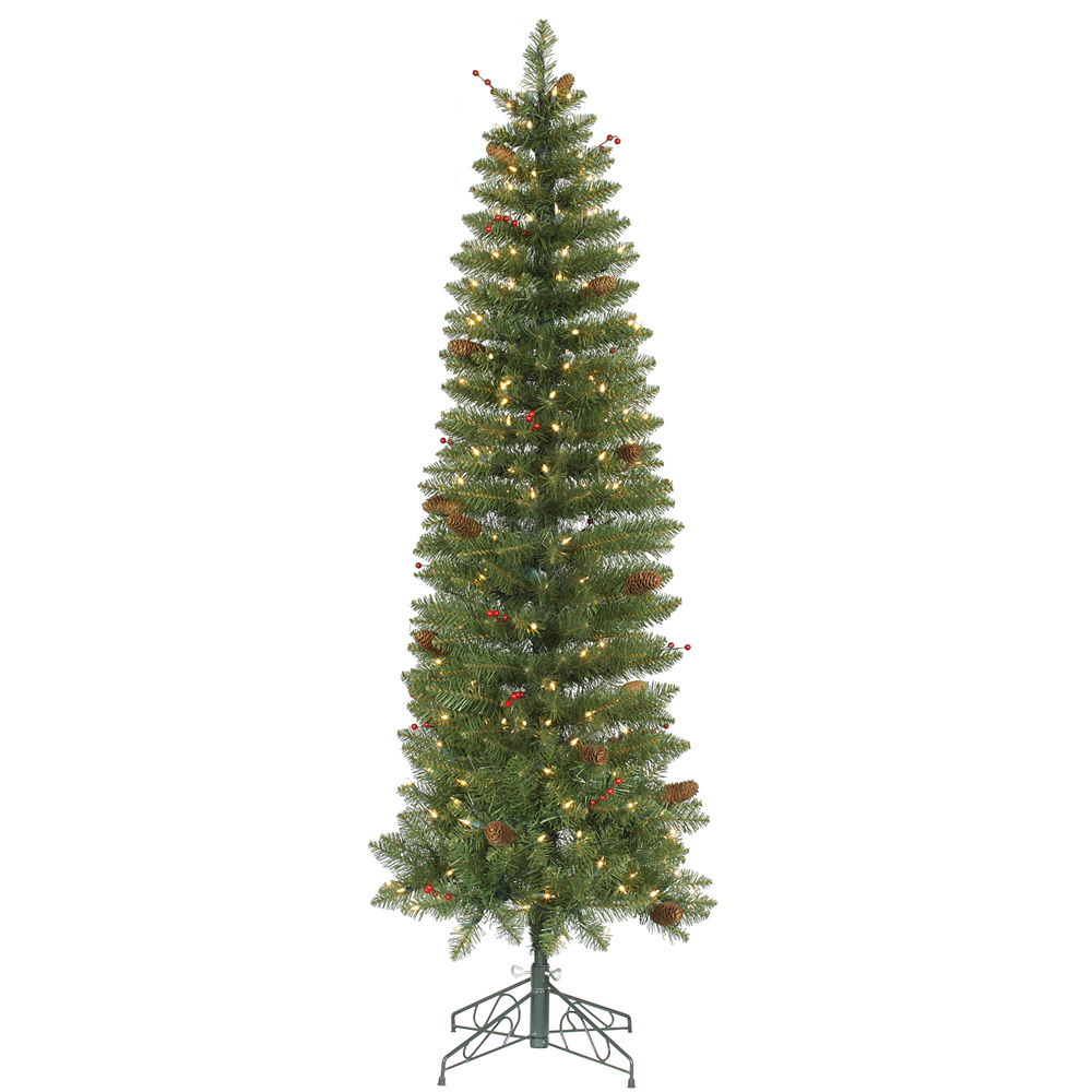 6.5 Foot Salinas Pencil Artificial Christmas Tree with 250 Clear Lights