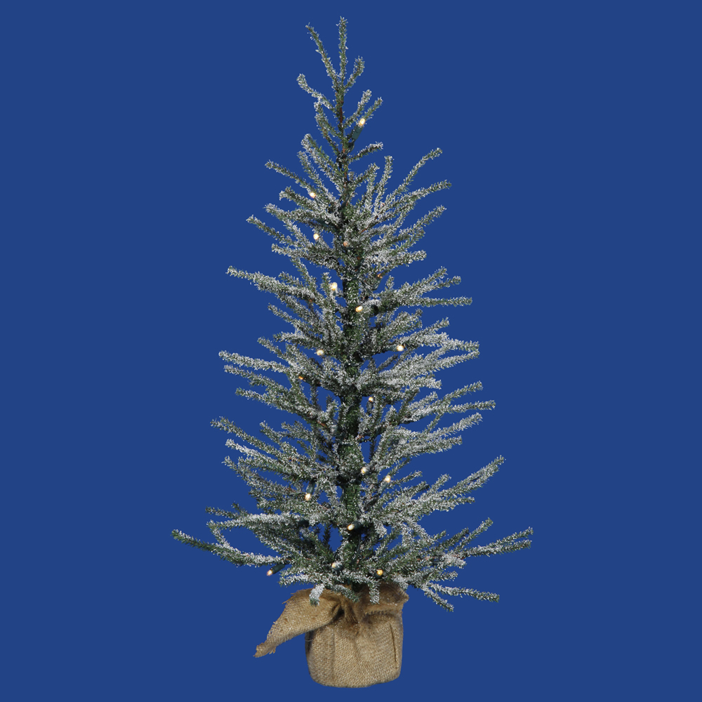 2 Foot Frosted Angel Pine Artificial Christmas Tree 35 LED M5 Italian Warm White Lights