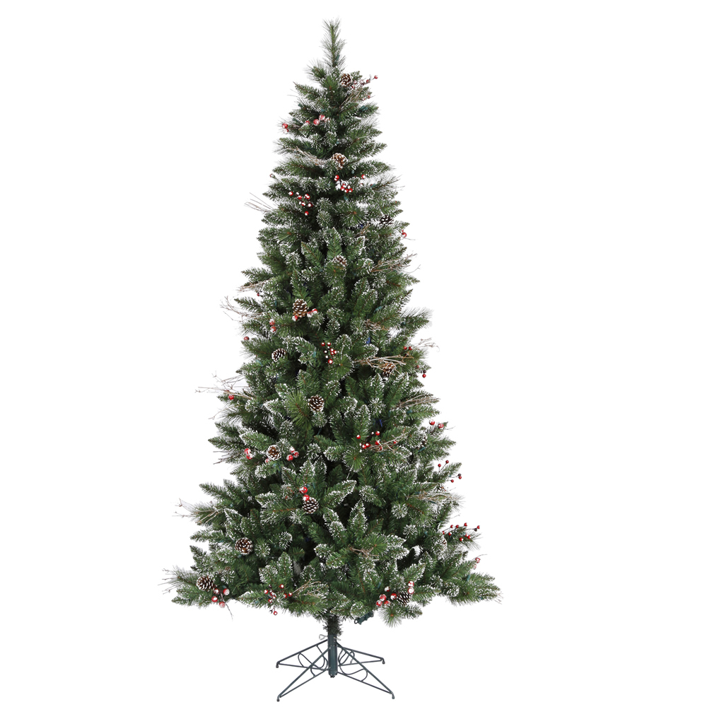 7 Foot Snow Tipped Pine and Berry Artificial Christmas Tree Unlit