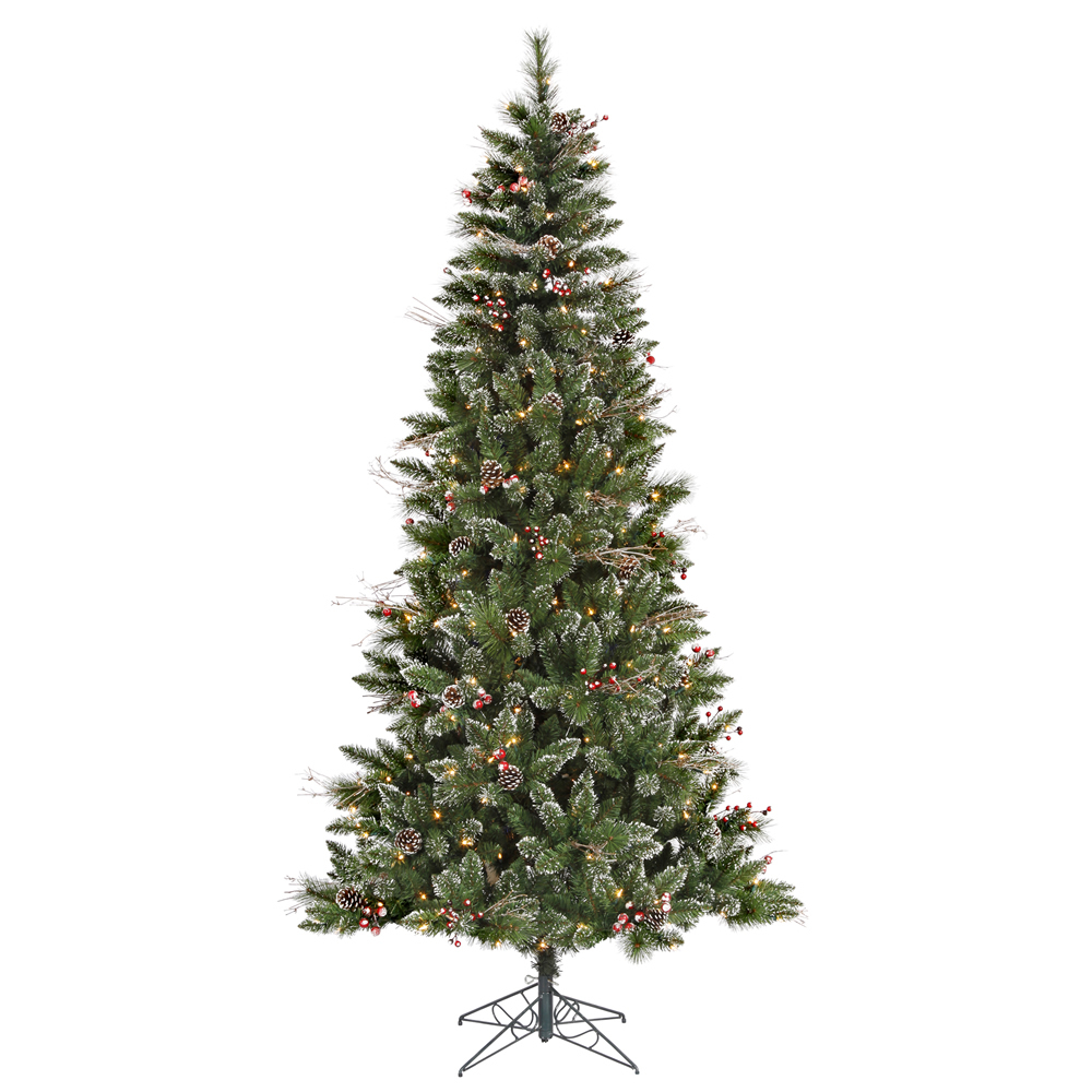 7 Foot Snow Tipped Pine and Berry Artificial Christmas Tree 350 DuraLit LED M5 Italian Warm White Mini Lights