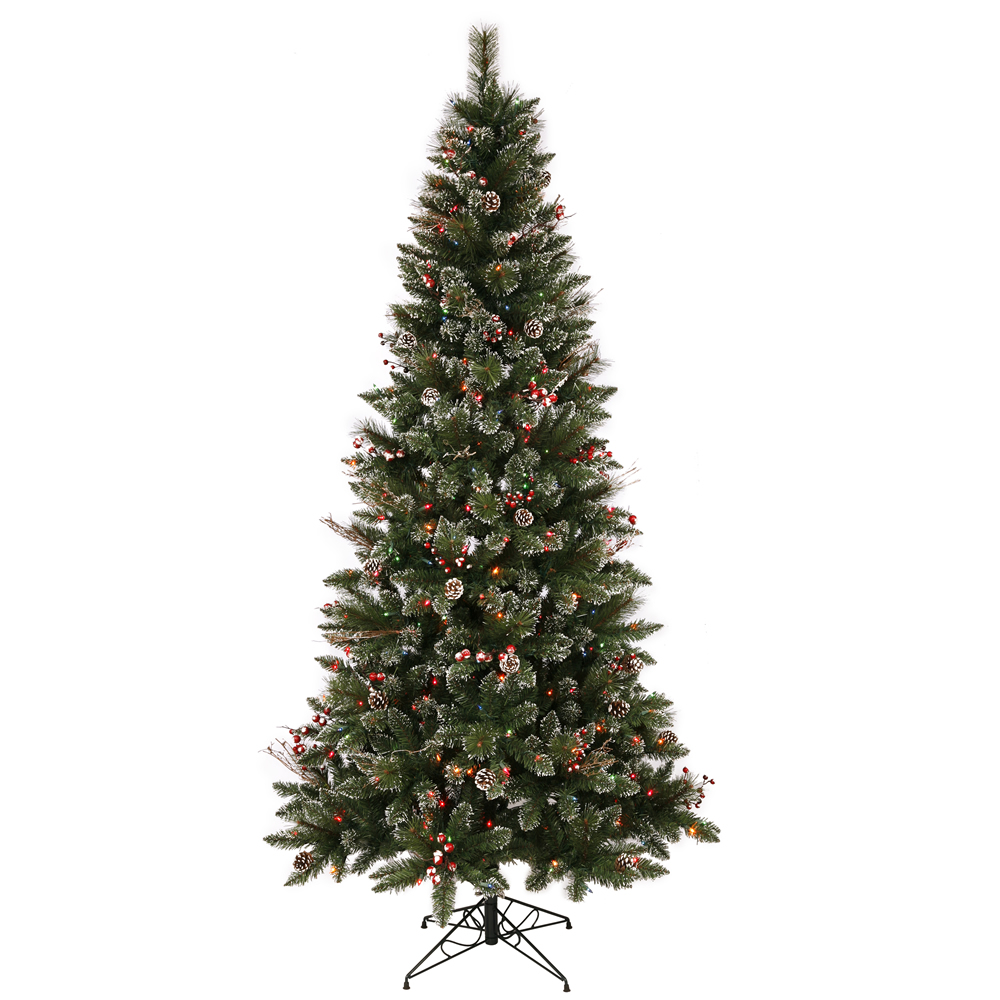 7 Foot Snow Tipped Pine and Berry Artificial Christmas Tree 350 LED M5 Italian Multi Color Lights