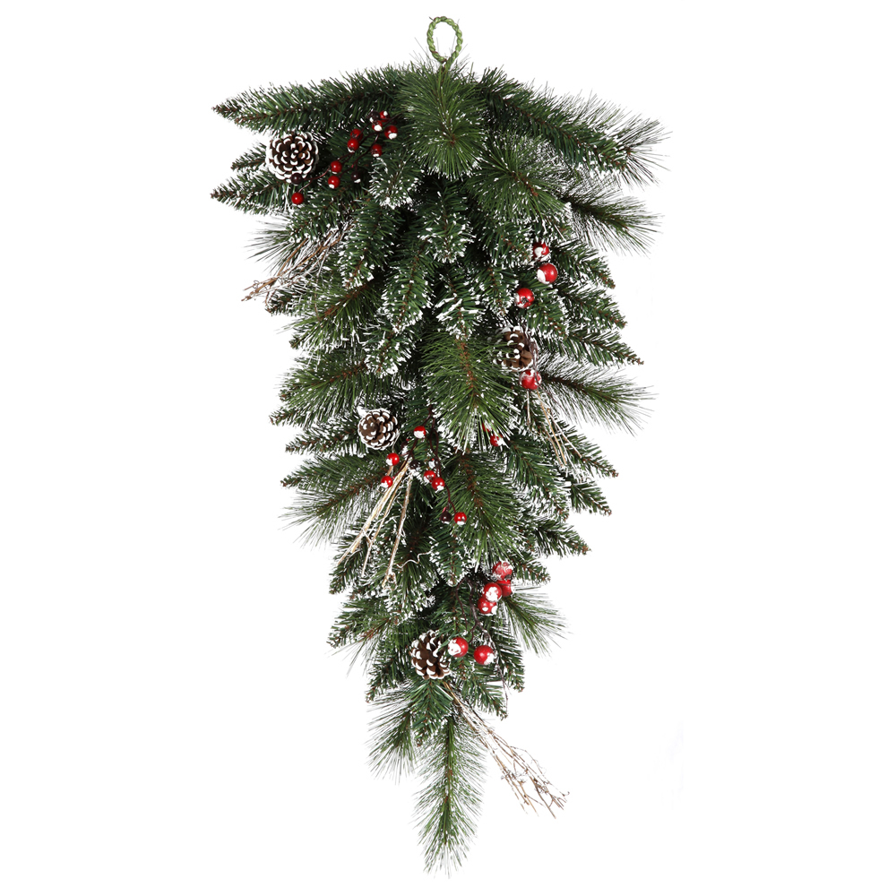 30 Inch Snow Tipped Pine and Berry Artificial Christmas Teardrop Unlit