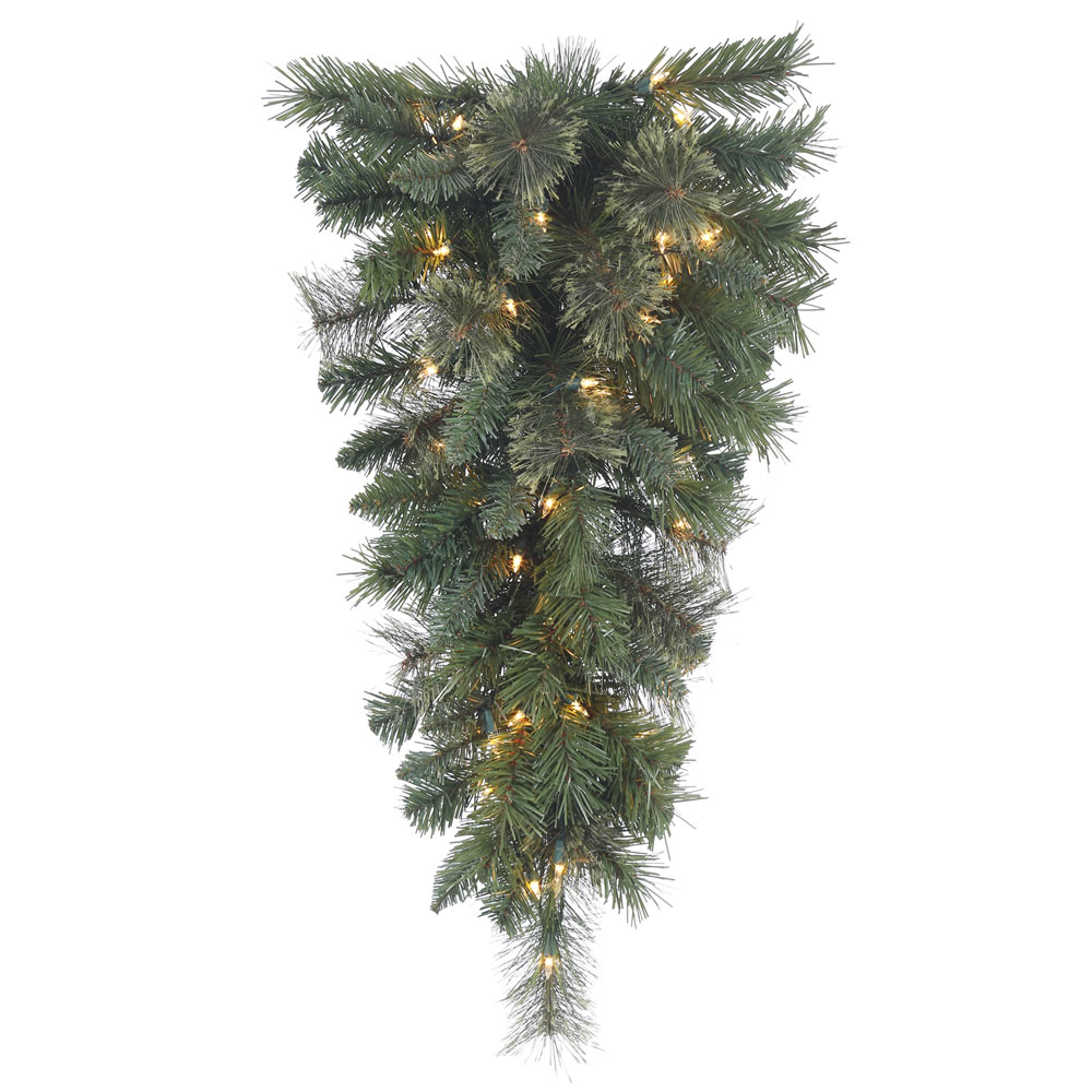30 Inch Butte Mixed Pine Artificial Christmas Teardrop with 35 Warm White LED Lights