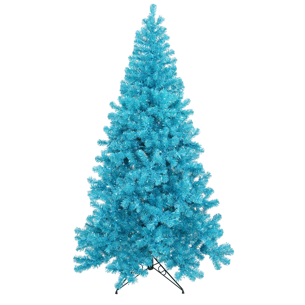 8 Foot Sky Blue Artificial Christmas Tree 600 DuraLit Incandescent Teal Mini Lights