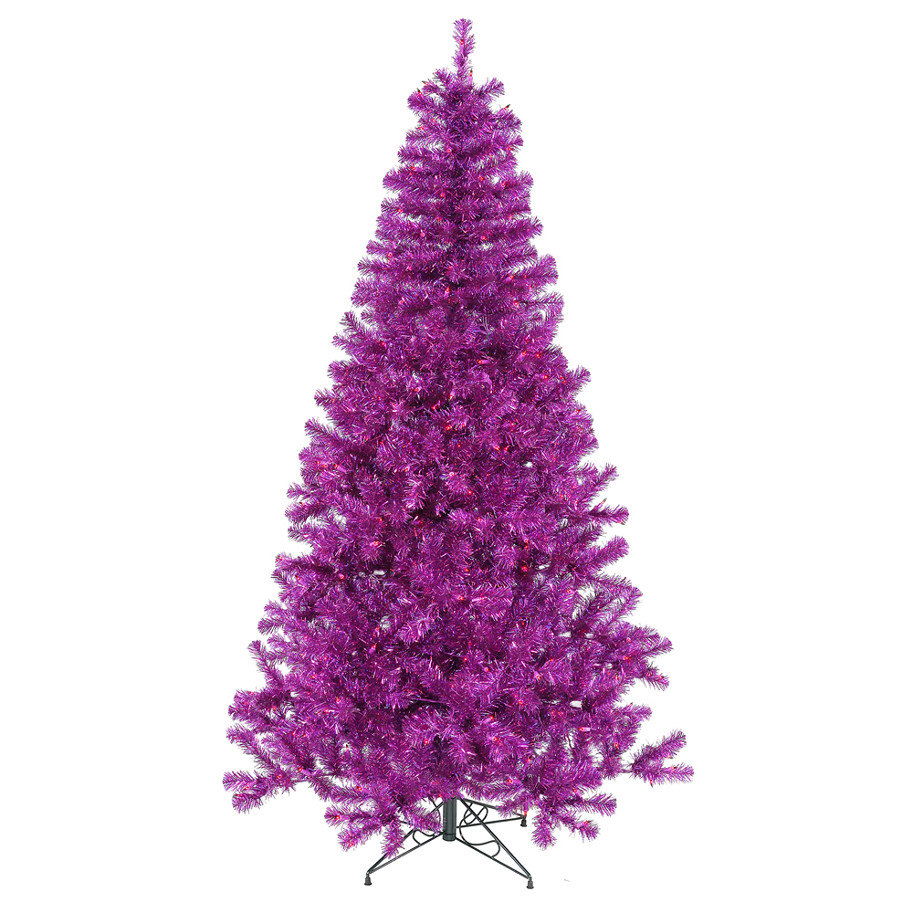 7 Foot Purple Artificial Halloween Tree 500 DuraLit Incandescent Purple Mini Lights