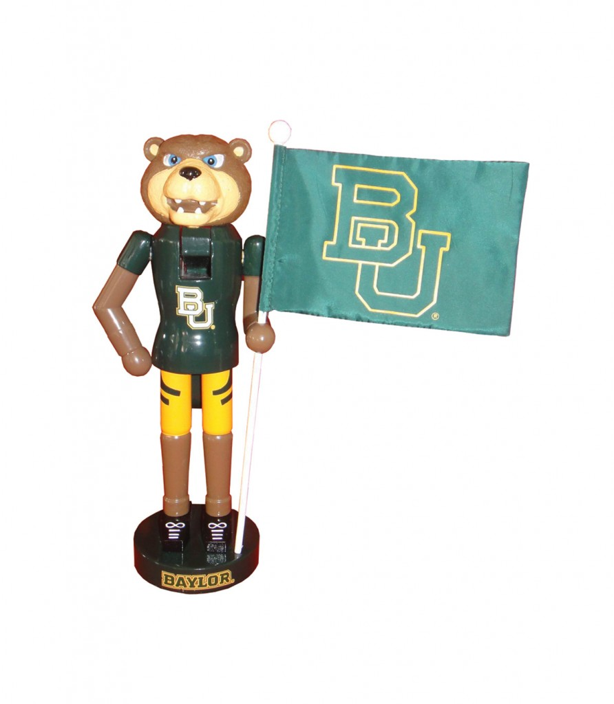 Baylor University Mascot with Flag Nutcracker Decoration