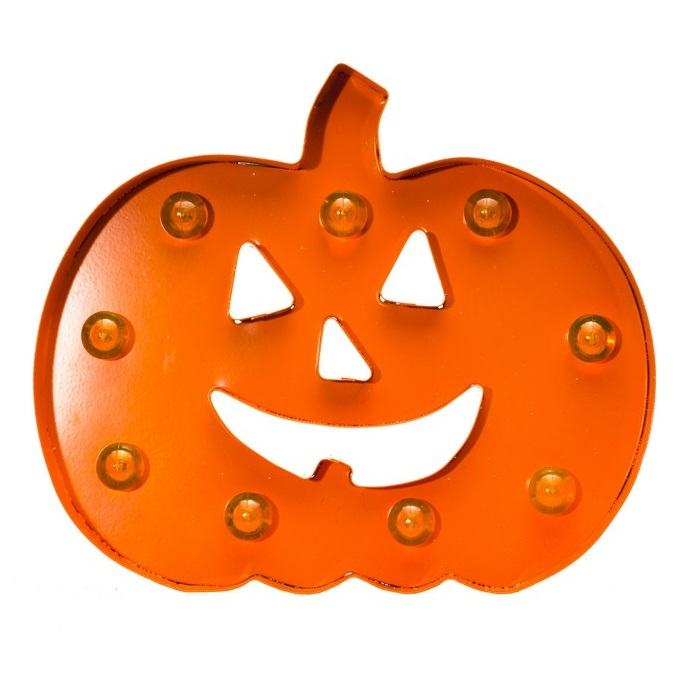 3D Metal Pumpkin LED Lighted Halloween Decoration - Battery Operated