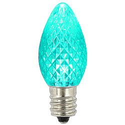 C7 LED Teal Faceted Dimmable Retrofit Night Light Replacement Christmas Bulbs - Set Of 25