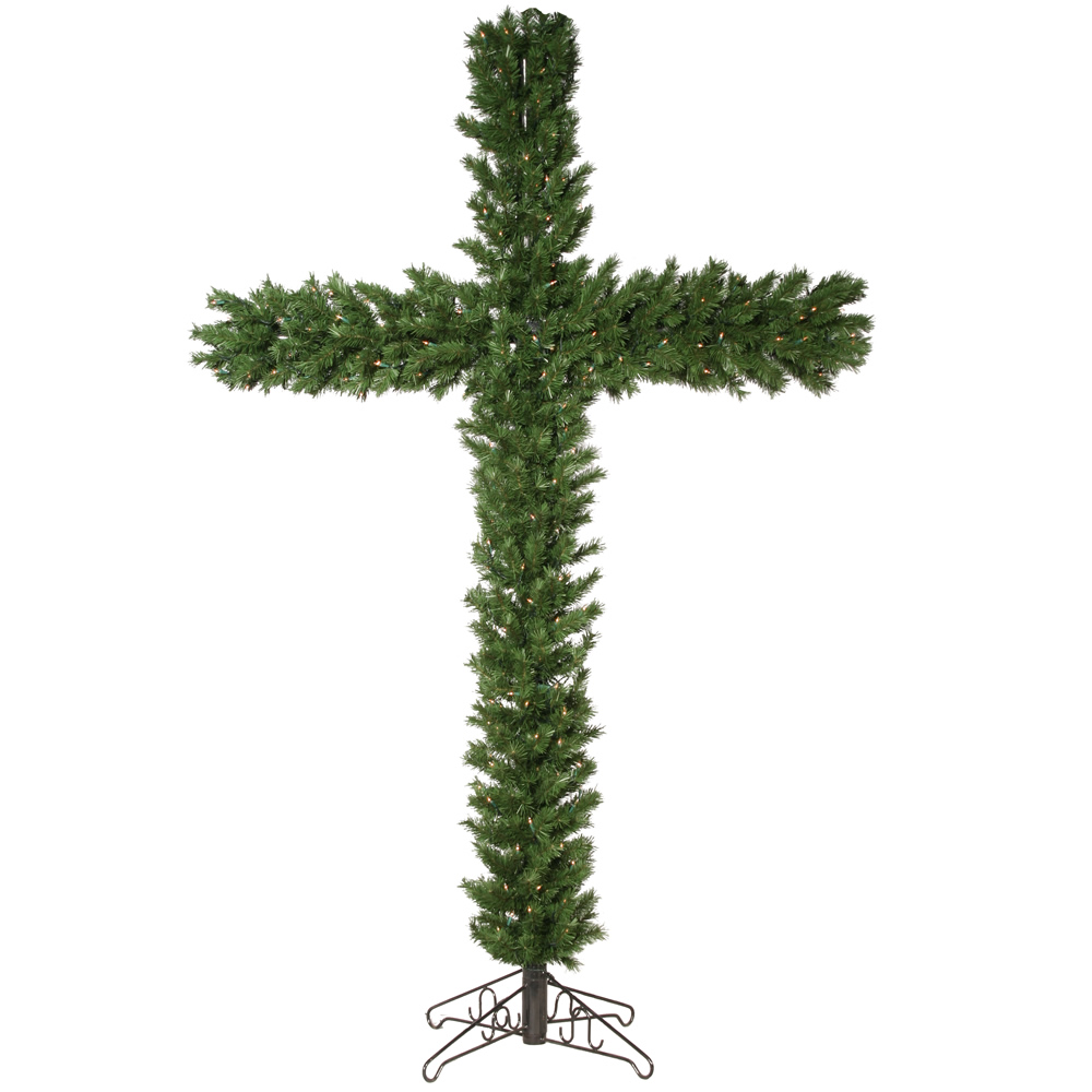 7.5 Foot Christmas Cross 250 Clear Lights