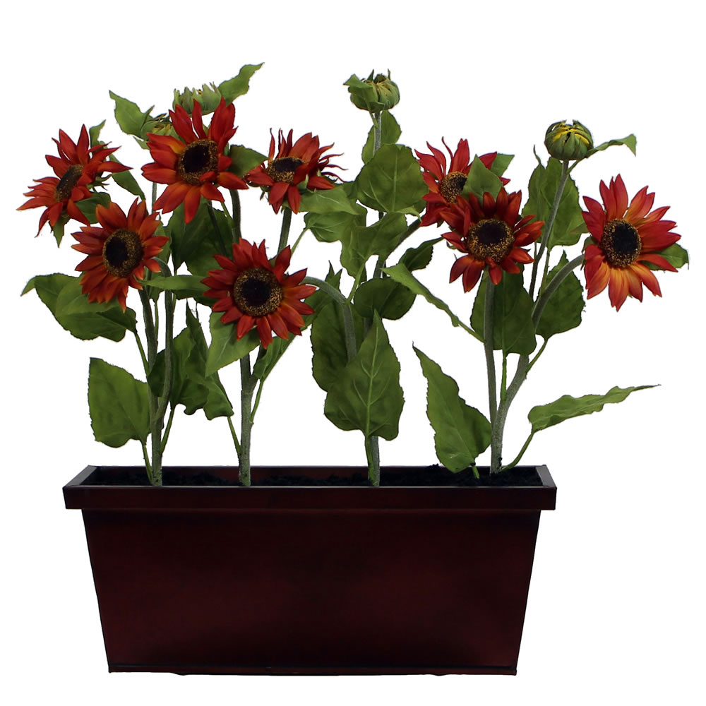 24 Inch Rustic Sunflower Window Box Harvest Decoration
