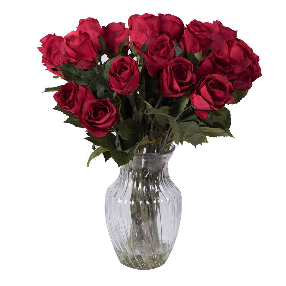 16 Inch Artificial Rose Arrangement with 24 Red Roses Glass Vase