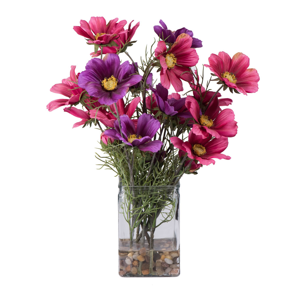 16 Inch Coreopsis Valentine Arrangement Clear Vase with Acrylic Water