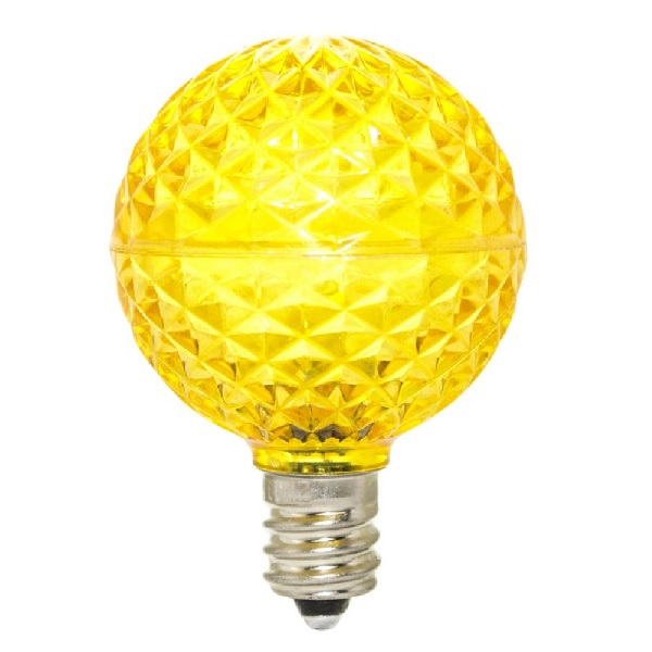 25 Commercial Grade LED G40 Yellow Retrofit Replacement Bulbs 10 Internal LEDs Per Bulb C7 base
