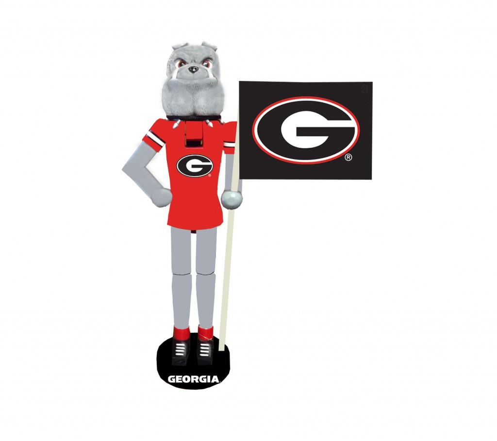 University of Georgia Mascot with Flag Nutcracker Decoration