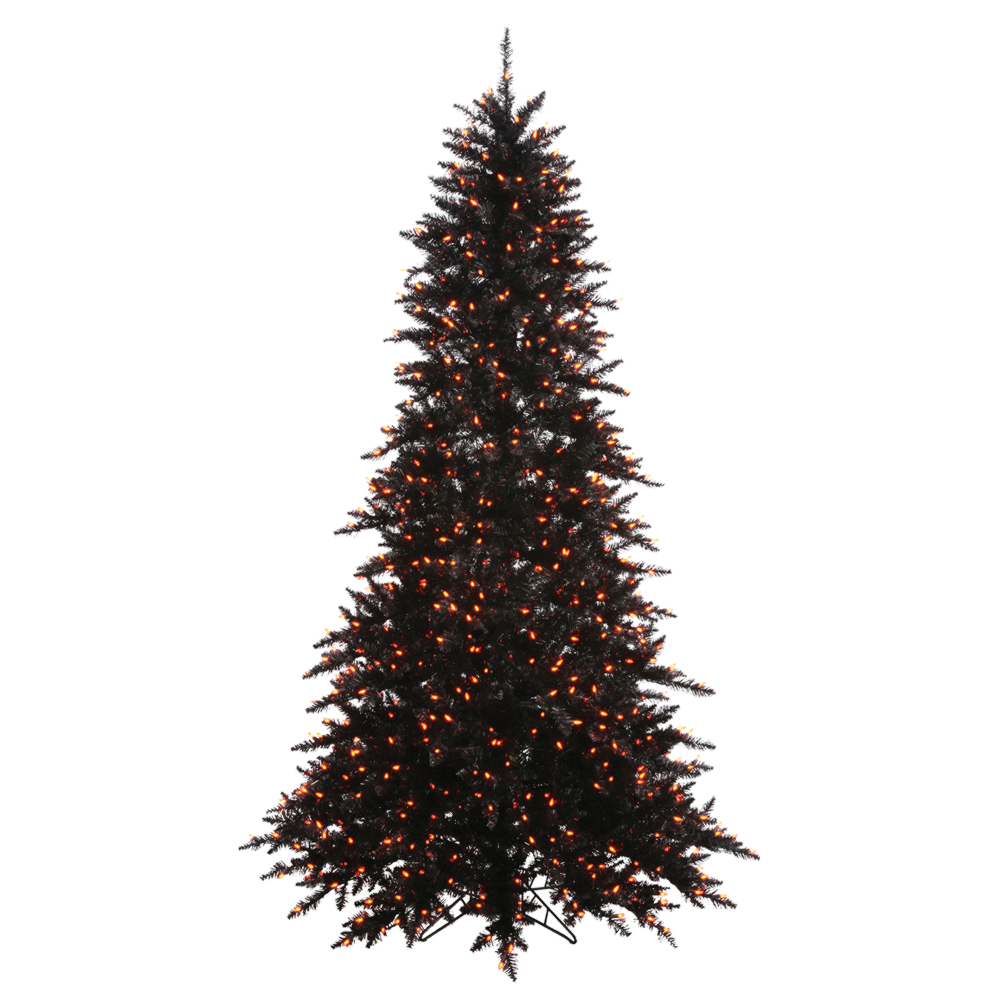 7.5 Foot Black Artificial Halloween Tree 750 Incandescent Orange Mini Lights