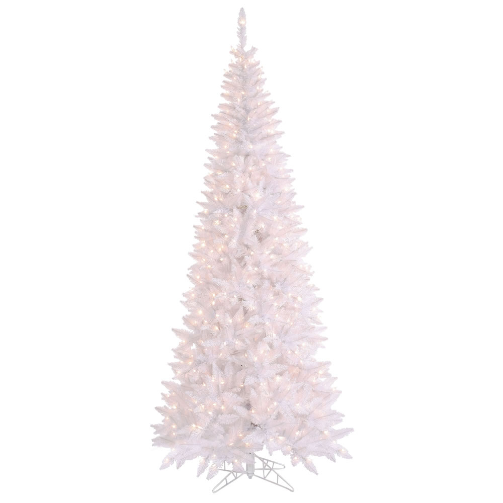 10 Foot White Fir Slim Artificial Christmas Tree 900 DuraLit Clear Incandescent Lights